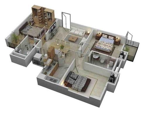 Denah Rumah Minimalis 3 Kamar Tidur 1 Lantai Gambar