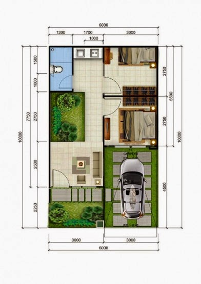 Denah rumah minimalis type 36