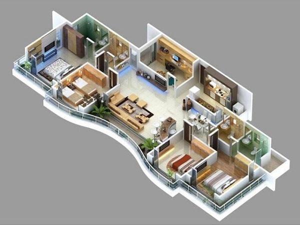Denah Rumah Idaman Minimalis Memanjang Lengkap dengan Sketsa