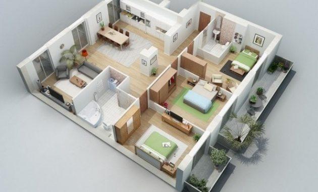 Denah Rumah Type 45 dengan 3 Kamar Tidur yang Modern dan Mewah