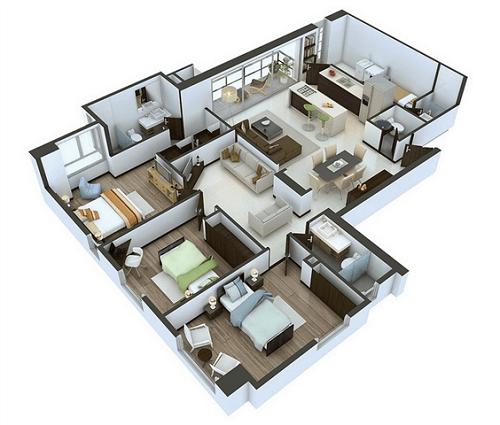 denah rumah mewah 1 lantai 3 kamar tidur
