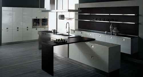 Ide Desain Dapur Minimalis Nuansa Monokrom yang Modern