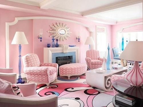 desain ruang tamu nuansa pink