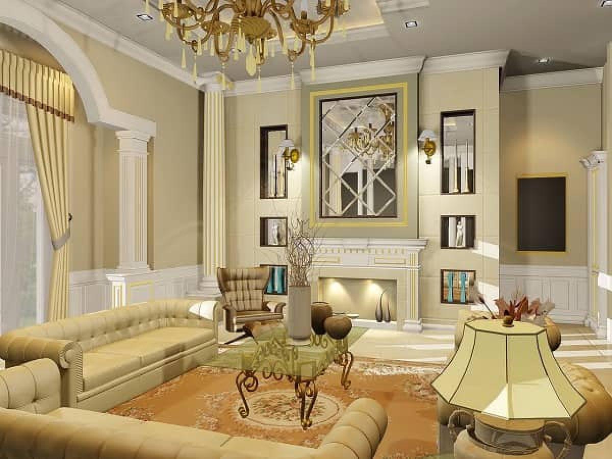 desain interior ruang keluarga klasik fitur