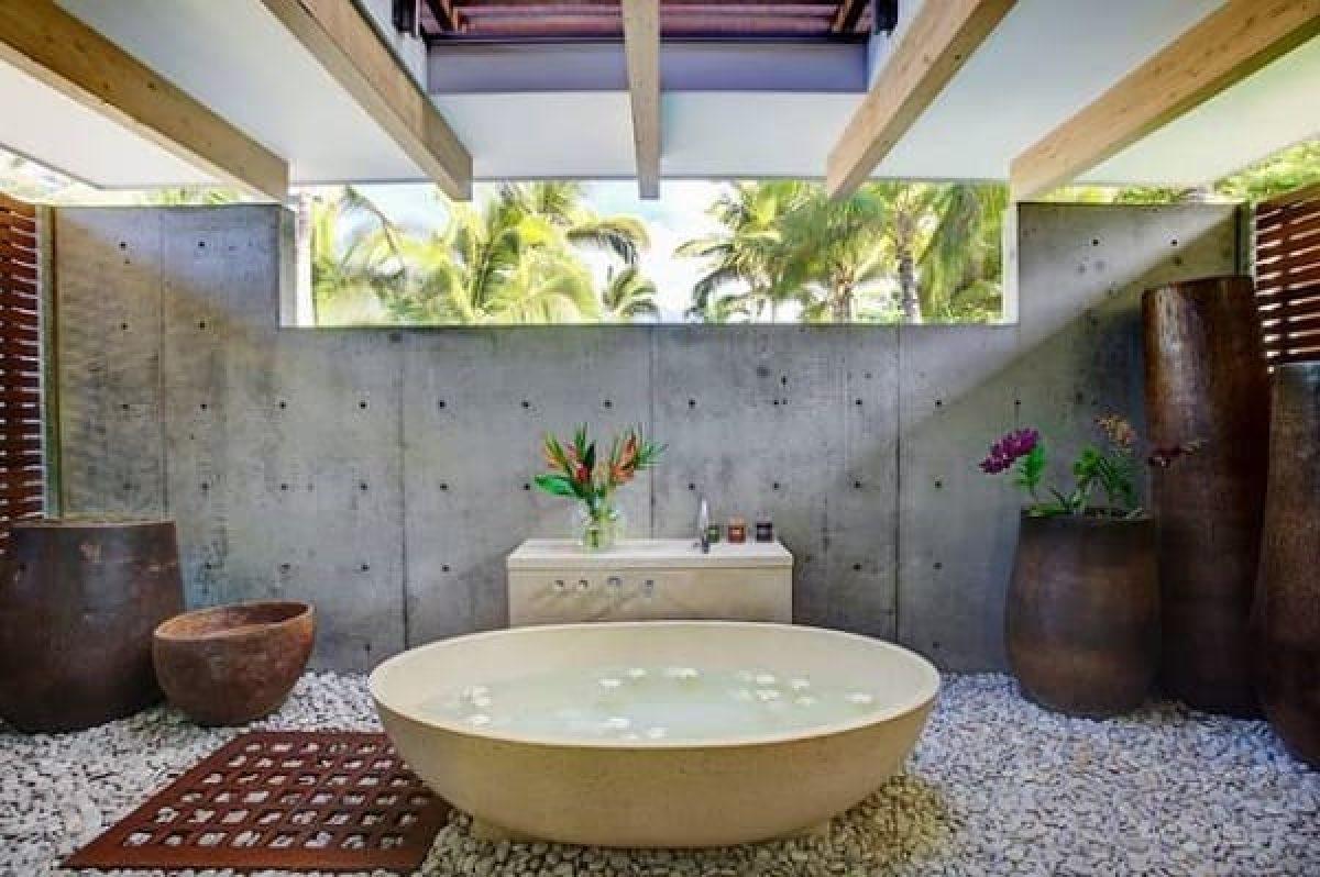 25 Model Dan Desain Kamar Mandi Bernuansa Alam Desain kamar mandi terbuka