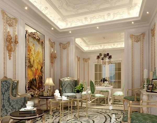 model plafon klasik ruang tamu