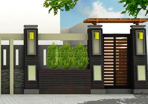 Kombinasi Warna Cat Pagar Besi  30 model pagar batu alam dengan kombinasi besi dengan motif
