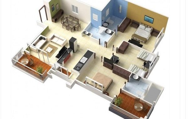 denah rumah modern 3D