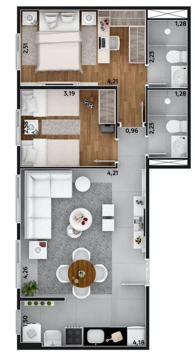 denah rumah minimalis modern 21
