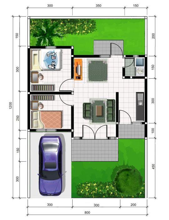 denah rumah minimalis modern 4