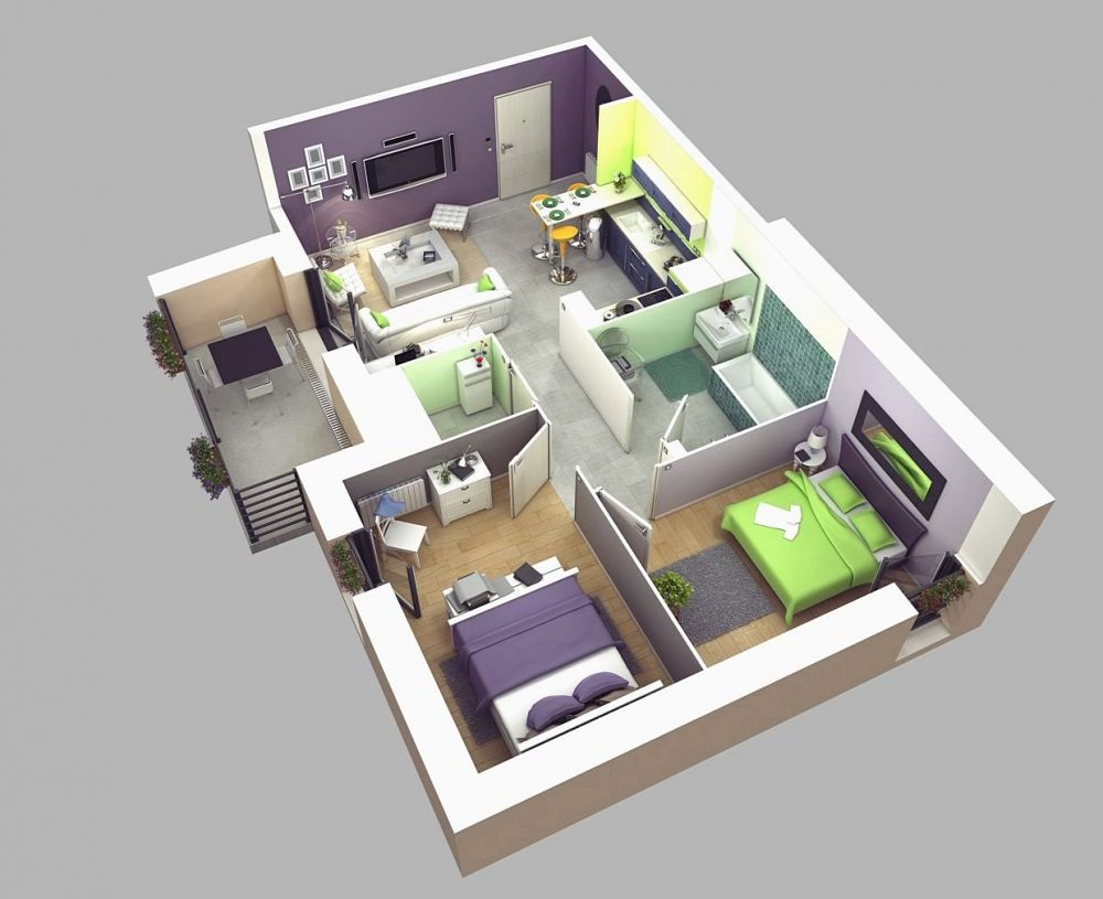 Denah Rumah 2 Kamar 3D Rumah Idaman Untuk Keluarga Kecil Anda