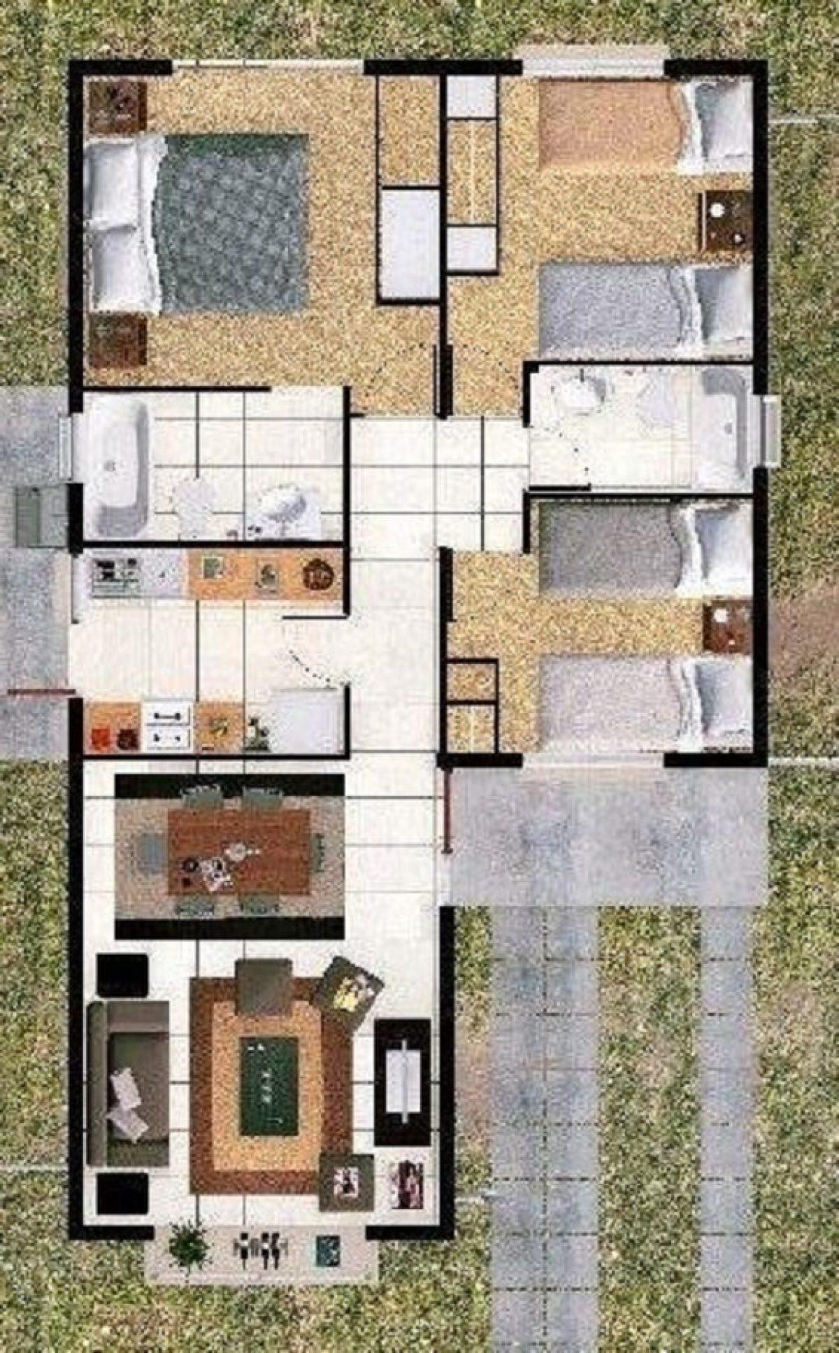 Denah Rumah Minimalis 3 Kamar yang Elegan dan Nyaman
